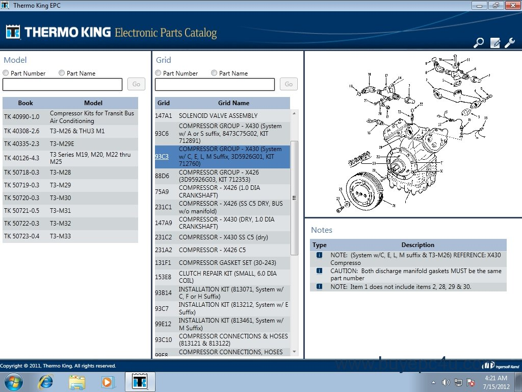 The image of Thermo King 2012 Parts catalogue / repair manual #1 ...