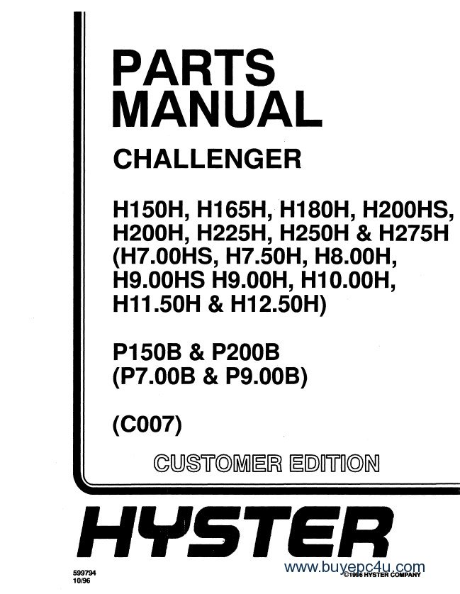hyster challenger c007 forklift pdf repair   parts manual