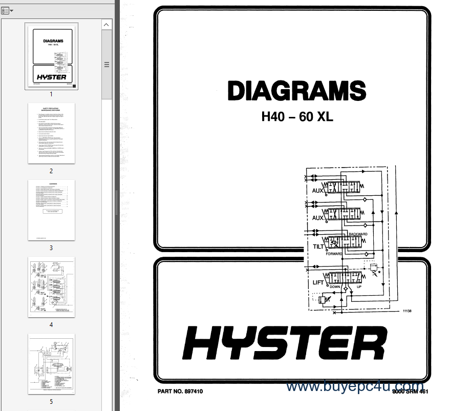 Hyster h50xl owners manual