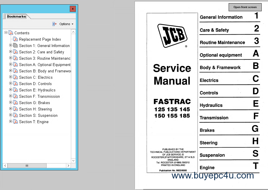 jcb 930 forklift service manual