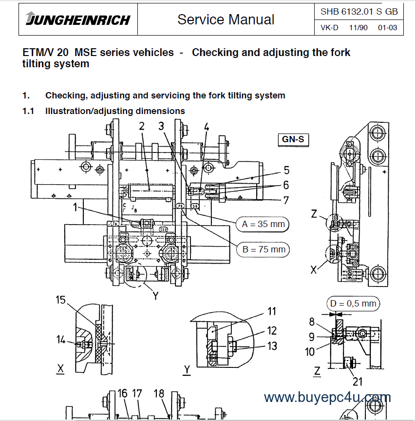 the screenshot of the jungheinrich spare parts catalogue #5