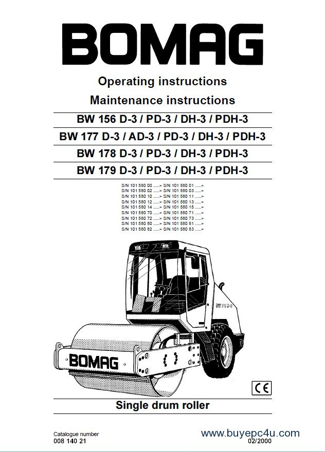 bomag bw156 177 178 179 d 3 pd 3 dh 3 pdh 3 rollers rh buyepc4u com BOMAG Tandem Roller BOMAG Roller Toy