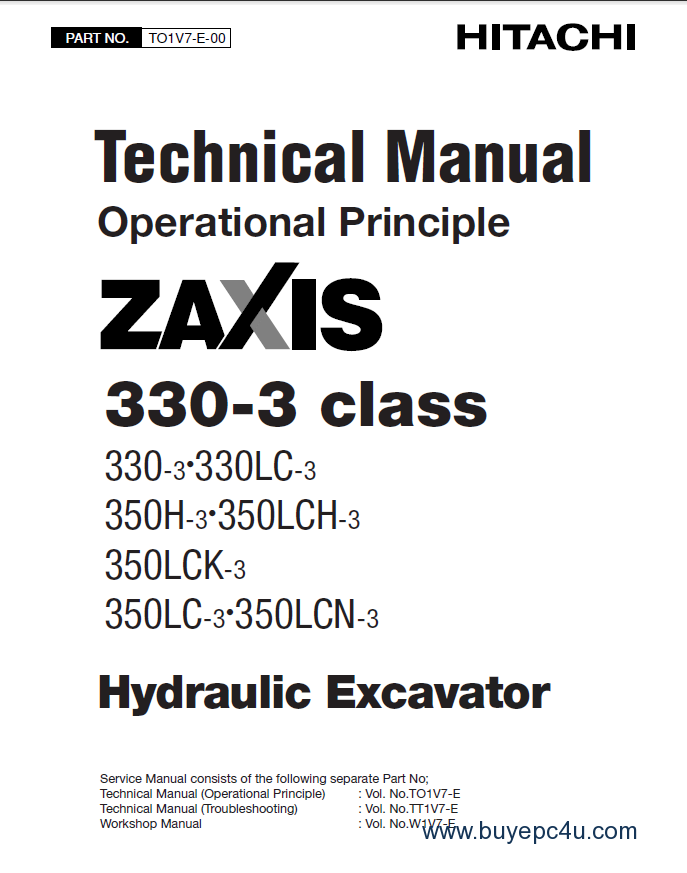 Hitachi Zaxis 330-3 class Hydraulic Excavator PDF Manuals
