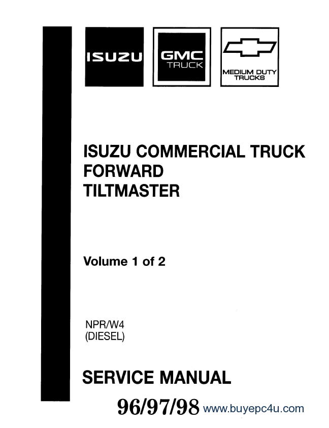 isuzu commercial truck forward tiltmaster npr w4 diesel 96 97 98 service 96 w4 wiring diagram diagram wiring diagrams for diy car repairs 1998 isuzu npr wiring diagram at gsmportal.co