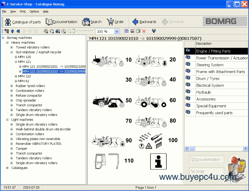 the screenshot of the bomag spare parts catalogue #7