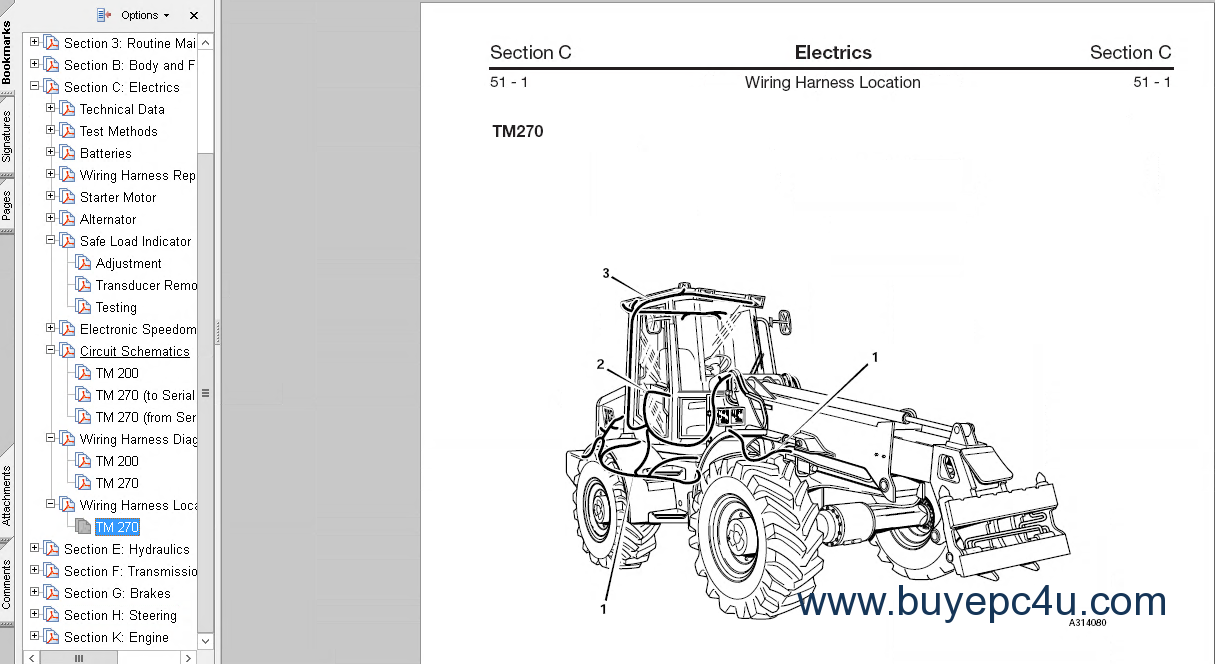 Jcb Starter Motor Wiring Diagram Library 3cx The Image Of Telehandler Tm200 Tm270 Tm300 Tm310 Service Manual Workshop Repair