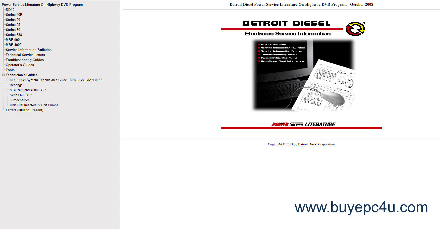 Detroit Diesel Power Service Literature On-Highway 2008