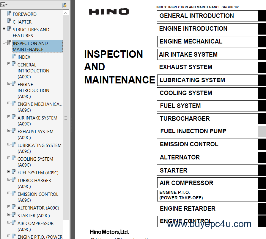 hino vehicle with a09c engine workshop manual pdf