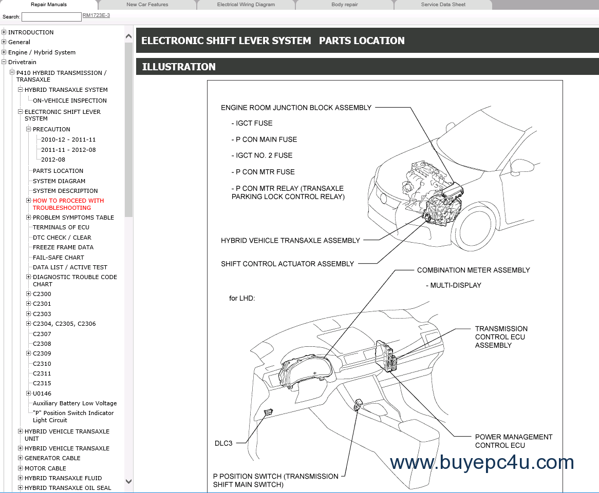 Lexus Ct200h Repair Manual Models 12 2010 11 2013 Electrical Wiring Diagram The Image Of From