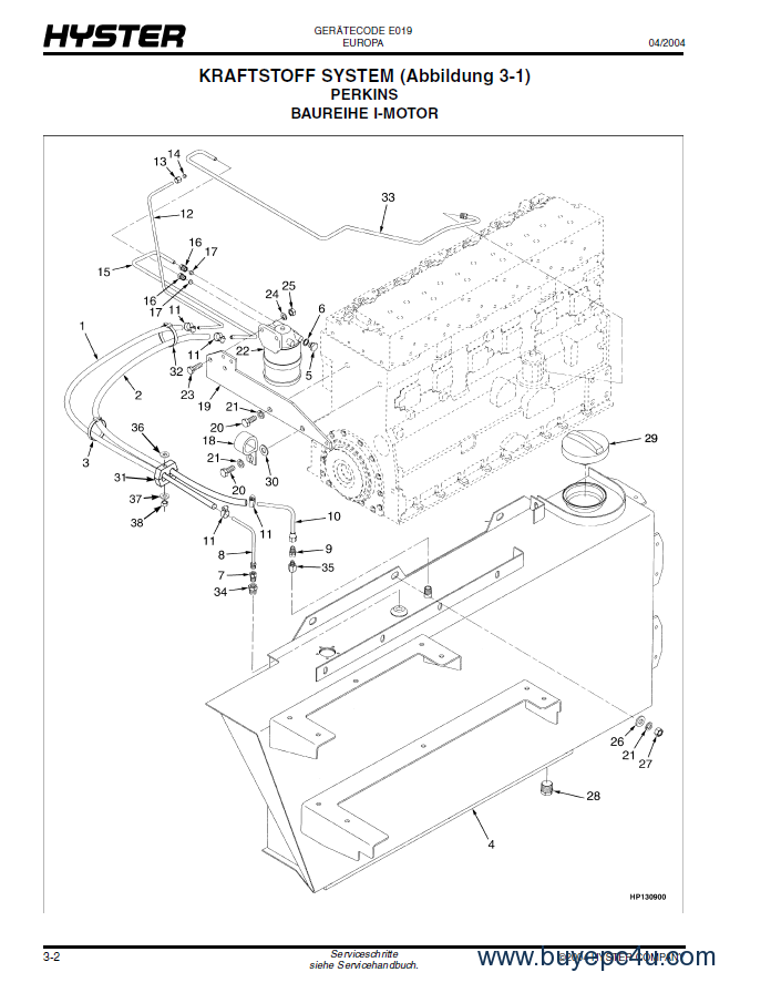 Hyster Challenger E019 Forklift Parts Manual Gr Only
