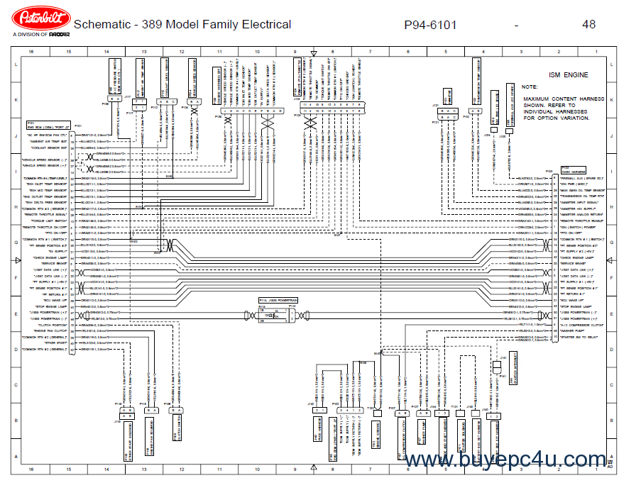 peterbilt truck 389 model family electrical schematic manual