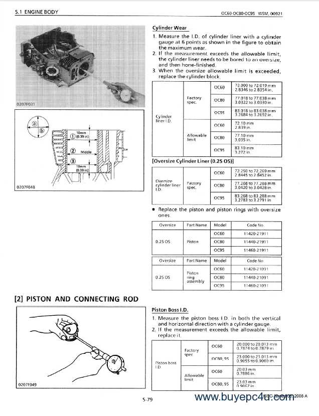 kubota oc60 oc80 oc95 diesel engines workshop manual