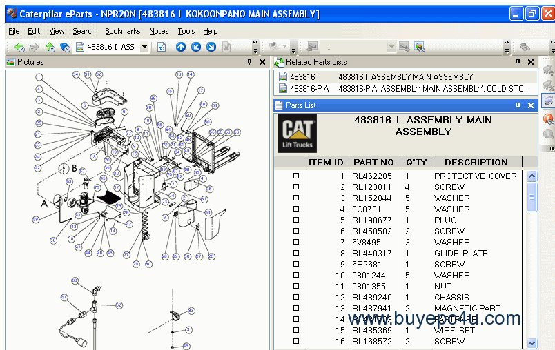 Caterpillar Forklift Linkone Parts Catalog
